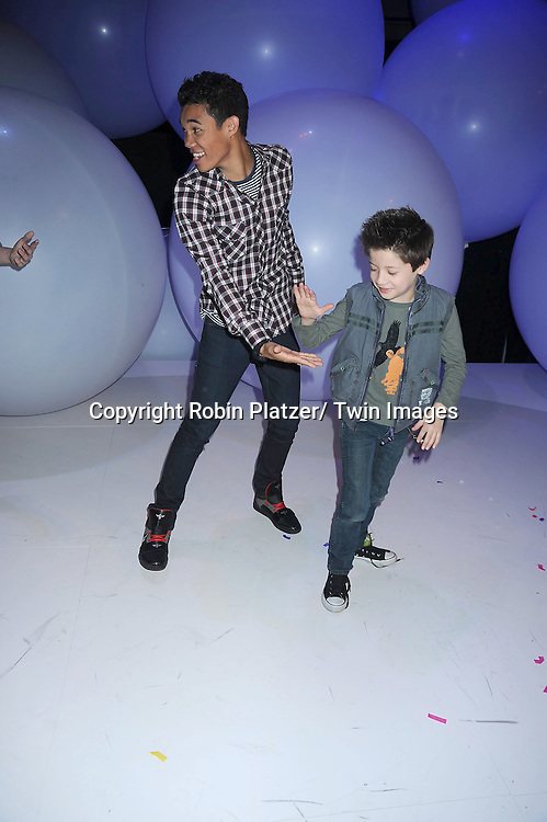 "Roshon Fegan and Davis Cleveland of ""Shake It Up"" dancing at  The Disney Kids and Family Upfront 2011-2012  on March 16, 2011 at Gotham Hall in New York City."