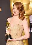 HOLLYWOOD, CA - FEBRUARY 26: Actress Emma Stone winner of the award for Actress in a Leading Role for 'La La Land,' poses in the press room during the 89th Annual Academy Awards at Hollywood & Highland Center on February 26, 2017 in Hollywood, California.