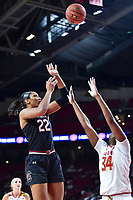College Park, MD - NOV 13, 2017: South Carolina Gamecocks forward A'ja Wilson (22) scores over Maryland Terrapins forward Brianna Fraser (34) on her way to a career high 32 points during game between No. 4 ranked South Carolina and the No. 15 Maryland Terrapins at the XFINITY Center in College Park, MD. The Gamecocks defeated Maryland 94-86.  (Photo by Phil Peters/Media Images International)