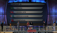 Group G is shown on the display during the FIFA Final Draw for the FIFA World Cup 2010 South Africa held at the Cape Town International Convention Centre (CTICC) on December 4, 2009.