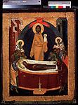 La dormition de la Vierge (The Dormition of the Virgin). La mort de la Vierge, etendue sur un lit, entouree des apotres, au dessus d'elle, le Christ emportant son ame, semblable a un enfant vetu de blanc. Peinture de Theophane le Grec (vers 1340-vers 1410), tempera sur bois vers 1380-1390, icone russe. State Tretyakov Gallery, Moscou. ©FineArtImages/Leemage