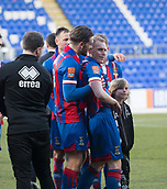 24th March 2018, McDiarmid Park, Perth, Scotland; Scottish Football Challenge Cup Final, Dumbarton versus Inverness Caledonian Thistle; Goalscorer Carl Tremarco of Inverness Caledonian Thistle celebrates with George Oakley as they wait to receive the Irn-Bru Cup