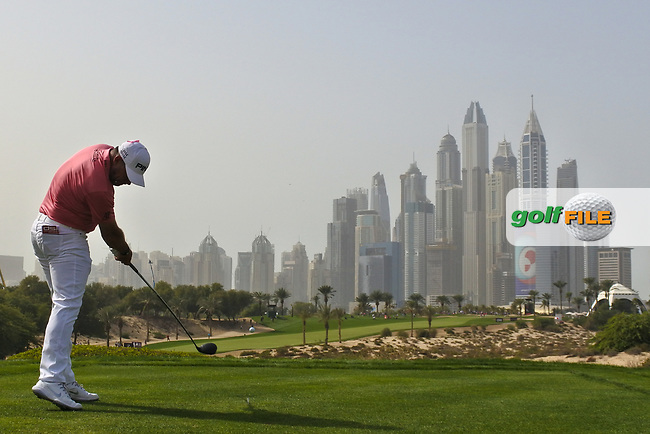 Lee Westwood (ENG) on the 8th during Round 2 of the Omega Dubai Desert Classic, Emirates Golf Club, Dubai,  United Arab Emirates. 25/01/2019<br /> Picture: Golffile | Thos Caffrey<br /> <br /> <br /> All photo usage must carry mandatory copyright credit (&copy; Golffile | Thos Caffrey)