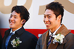"""(L-R) Daiya Seto, Kosuke Hagino, JANUARY 12, 2015 : The Tokyo Organising Committee of the Olympic and Paralympic Games (TOCOG) countdown event """"Everyone's Start! 2020 days to Tokyo 2020"""" at Tokyo Metropolitan Government, Tokyo, Japan. (Photo by AFLO SPORT)"""