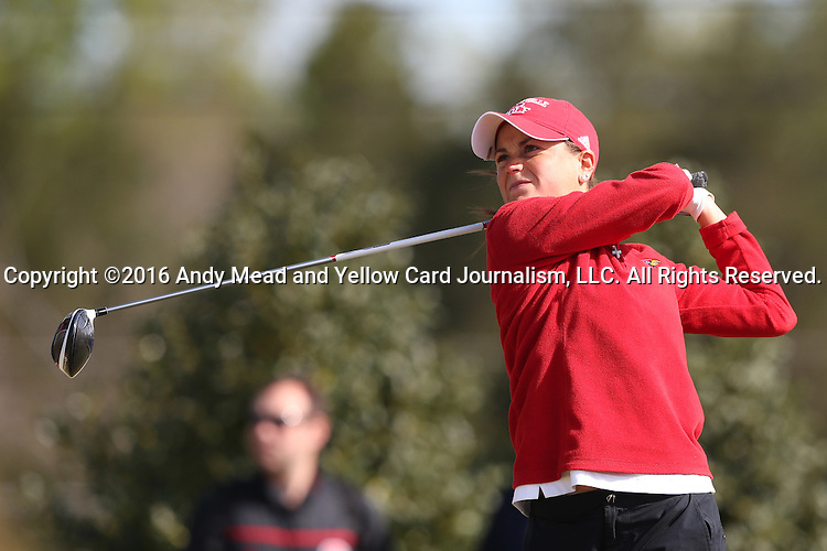 15 April 2016: Louisville's Katie Mitchell. The First Round of the Atlantic Coast Conference's Womens Golf Tournament was held at Sedgefield Country Club in Greensboro, North Carolina.