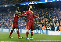 Liverpool's Mohamed Salah (right) celebrates with team mate Sadio Mane after scoring his side's equalising goal to make the score 1 - 1<br /> <br /> Photographer Rich Linley/CameraSport<br /> <br /> UEFA Champions League Quarter-Final Second Leg - Manchester City v Liverpool - Tuesday 10th April 2018 - The Etihad - Manchester<br />  <br /> World Copyright &copy; 2017 CameraSport. All rights reserved. 43 Linden Ave. Countesthorpe. Leicester. England. LE8 5PG - Tel: +44 (0) 116 277 4147 - admin@camerasport.com - www.camerasport.com