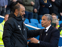 Wolverhampton Wanderers head coach Nuno Espirito Santo (left) &amp; Brighton &amp; Hove Albion manager Chris Hughton (right) <br /> <br /> Photographer David Horton/CameraSport<br /> <br /> The Premier League - Brighton and Hove Albion v Wolverhampton Wanderers - Saturday 27th October 2018 - The Amex Stadium - Brighton<br /> <br /> World Copyright &copy; 2018 CameraSport. All rights reserved. 43 Linden Ave. Countesthorpe. Leicester. England. LE8 5PG - Tel: +44 (0) 116 277 4147 - admin@camerasport.com - www.camerasport.com