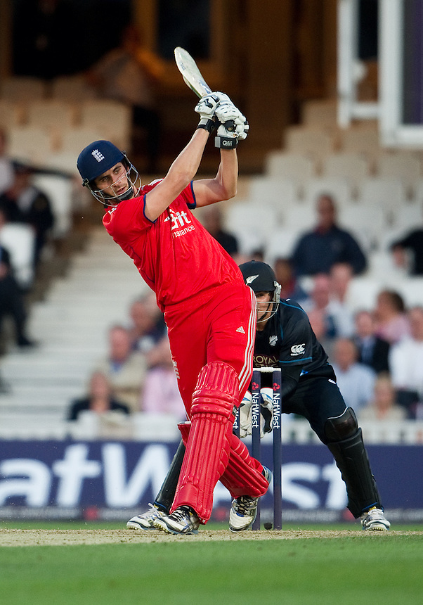 England's Alex Hales in action during his innings of 39 against New Zealand in the first T20<br /> <br />  (Photo by Ashley Western/CameraSport) <br /> <br /> International Cricket - NatWest International T20 Series - England v New  Zealand - Tuesday 25th June 2013 - The Kia Oval, London <br /> <br />  &copy; CameraSport - 43 Linden Ave. Countesthorpe. Leicester. England. LE8 5PG - Tel: +44 (0) 116 277 4147 - admin@camerasport.com - www.camerasport.com