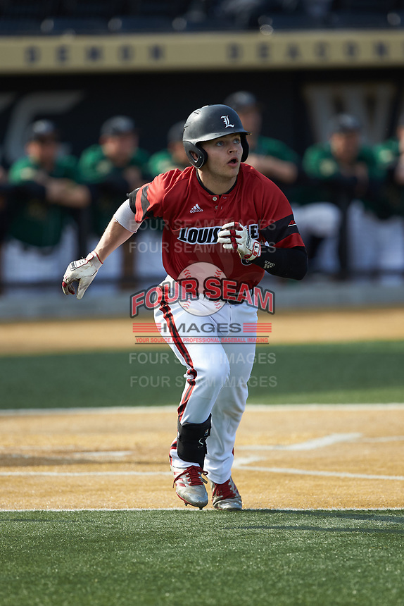 Zach Britton (34) of the Louisville Cardinals starts down the first base line during the game against the Wake Forest Demon Deacons at David F. Couch Ballpark on March 17, 2018 in  Winston-Salem, North Carolina.  The Cardinals defeated the Demon Deacons 11-6.  (Brian Westerholt/Four Seam Images)