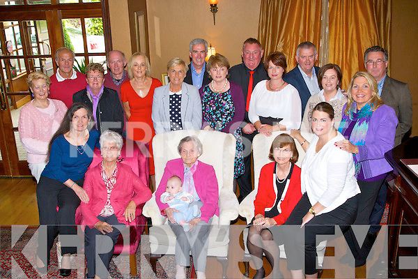 90TH: On Sunday they travelled from New York, to celebrate Sheila O'Shea's Annagh,Tralee  90th Birthday in Ballygarry House Hotel & Spa, Tralee, Front l-r: Kathleen O'Shea Prete, Eileen O'Shea-Keane, Sheila O'Shea (birthday lady), Owen Hadley, Eileen Cotter and Julie Hadley. Back l-r: Sheila and Joe Finn, Kay and John Courtney, Ann McDonnell, Nora Tracy, Joe and Bridget McDonnell, Tommy Tracy, Lorraine Conroy,John and Lila Keane,Joan Anskat and Jimmy Mc Donnell.