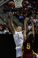 BERKELEY, CA - MARCH 30: Jayne Appel scores two of her 46 points during Stanford's 74-53 win against the Iowa State Cyclones on March 30, 2009 at Haas Pavilion in Berkeley, California.