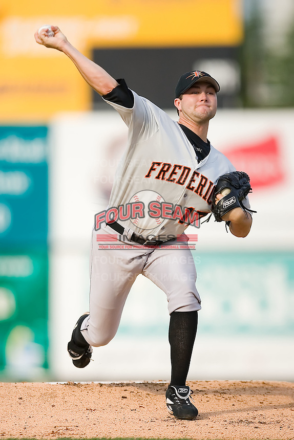 Starting pitcher Tim Bascom (17) of the Frederick Keys in action versus the Winston-Salem Warthogs at Ernie Shore Field in Winston-Salem, NC, Saturday, June 7, 2008.