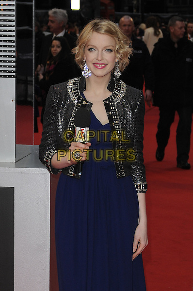 LAUREN LAVERNE.Arrivals at the Orange British Academy Film Awards 2010 at the Royal Opera House, Covent Garden, London, England, UK, .21st February 2010.BAFTA BAFTAs half length silver trophy beaded embellished trim jacket blue dress microphone grey gray shiny .CAP/CAN.©Can Nguyen/Capital Pictures