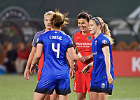 Portland, OR - Saturday May 06, 2017: Christine Sinclair, Rachel Corsie during a regular season National Women's Soccer League (NWSL) match between the Portland Thorns FC and the Chicago Red Stars at Providence Park.