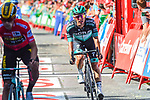 Rafal Majka (POL) Bora-Hansgrohe crosses the finish line at the end of Stage 17 of La Vuelta 2019  running 219.6km from Aranda de Duero to Guadalajara, Spain. 11th September 2019.<br /> Picture: Dario Belingheri/BettiniPhoto | Cyclefile<br /> <br /> All photos usage must carry mandatory copyright credit (© Cyclefile | Dario Belingheri/BettiniPhoto)
