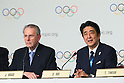 (L to R) <br />  Jacques Rogge, <br />  Shinzo Abe, <br /> SEPTEMBER 7, 2013 : <br /> A press conference after Tokyo was announced as the winning city bid for the 2020 Summer Olympic Games at the 125th International Olympic Committee (IOC) session in Buenos Aires Argentina, on Saturday September 7, 2013. (Photo by YUTAKA/AFLO SPORT)