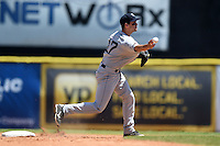 Mobile BayBears shortstop Sean Jamieson (17) attempting to turn a double play during a game against the Huntsville Stars on April 23, 2014 at Joe Davis Stadium in Huntsville, Tennessee.  Huntsville defeated Mobile 4-1.  (Mike Janes/Four Seam Images)