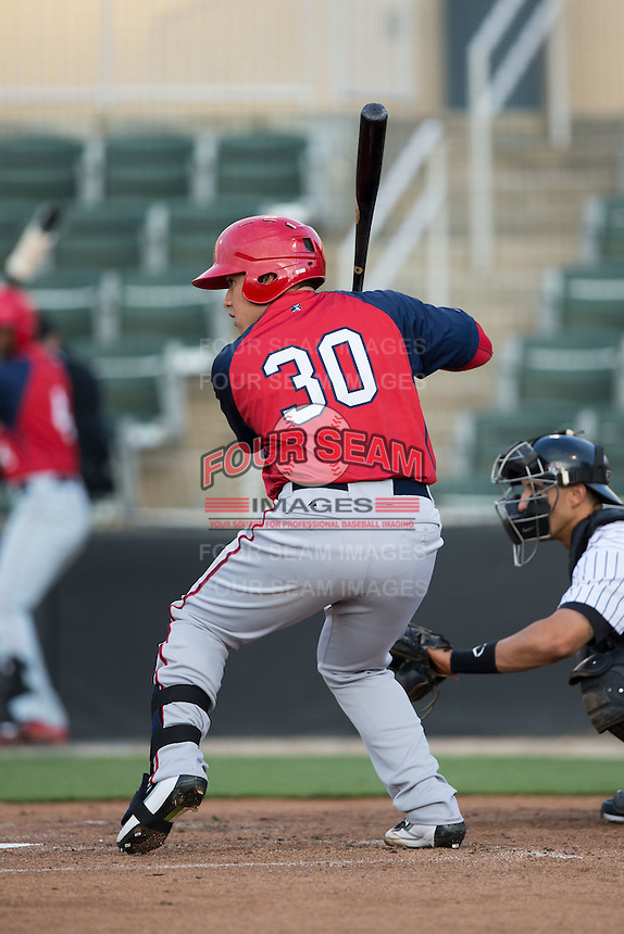 Jorge Tillero (30) of the Hagerstown Suns at bat against the Kannapolis Intimidators at Kannapolis Intimidators Stadium on May 6, 2016 in Kannapolis, North Carolina.  The Intimidators defeated the Suns 5-3.  (Brian Westerholt/Four Seam Images)