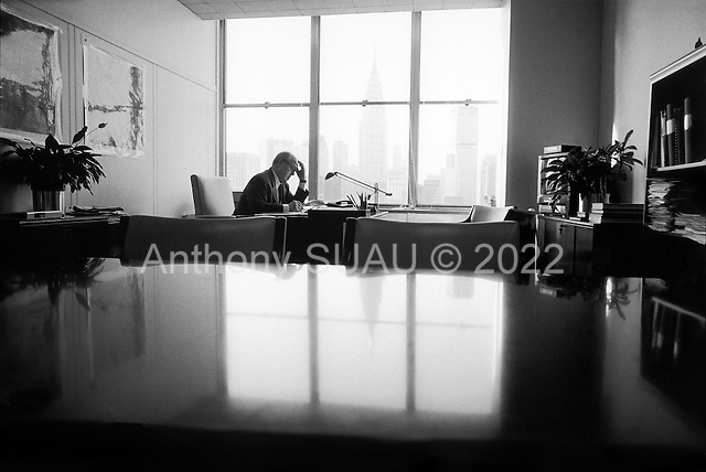 New York, New York.USA.February 20, 2003..Dr. Hans Blix the Swedish born chief UN weapons inspector is in the center of the Iraqi UN crisis. Images taken in his UN office.