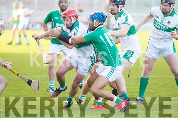 Kanturk's Alan Sheehy under pressure from Liam Boyle Ballyduff in the Munster Intermediate Club championship semi final in Austin Stack Park on Sunday last.