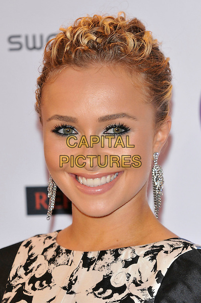 Hayden Panettiere.MTV European Music Awards EMA red carpet arrivals, Odyssey Arena, Belfast, Northern Ireland..6th November 2011.headshot portrait black white smiling dangling silver earrings eyeliner make-up beauty.CAP/PL.©Phil Loftus/Capital Pictures.