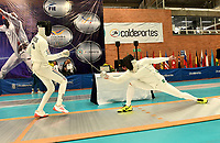 BOGOTA – COLOMBIA – 26 – 05 – 2017: Luis Enrique Petterson (Izq.) de Cuba, combate con Maksym Khvorost (Der.) de Ucrania, durante Varones Mayores Epee del Gran Prix de Espada Bogota 2017, que se realiza en el Centro de Alto Rendimiento en Altura, del 26 al 28 de mayo del presente año en la ciudad de Bogota.  / Luis Enrique Petterson (L) from Cuba, fights with Maksym Khvorost (R) from Ukraine, during Senior Men´s Epee of the Grand Prix of Espada Bogota 2017, that takes place in the Center of High Performance in Height, from the 26 to the 28 of May of the present year in The city of Bogota.  / Photo: VizzorImage / Luis Ramirez / Staff.