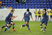 Mario Rodriguez (9) of the USA celebrates scoring. iThe USMNT U-17 defeated New York Red Bulls U-18 4-1 during a friendly at Red Bull Arena in Harrison, NJ, on October 09, 2010.