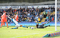Blackburn Rovers' Bradley Dack stretches but can't get on the end of the cross<br /> <br /> Photographer Kevin Barnes/CameraSport<br /> <br /> The EFL Sky Bet Championship - Blackburn Rovers v Huddersfield Town - Saturday 19th October 2019 - Ewood Park - Blackburn<br /> <br /> World Copyright © 2019 CameraSport. All rights reserved. 43 Linden Ave. Countesthorpe. Leicester. England. LE8 5PG - Tel: +44 (0) 116 277 4147 - admin@camerasport.com - www.camerasport.com