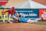 1 March 2019: Washington Nationals infielder Carter Kieboom gets a late throw in the 6th inning as Miami Marlins infielder Isan Diaz steals second during a Spring Training game at Roger Dean Stadium in Jupiter, Florida. The Nationals defeated the Marlins 5-4 in Grapefruit League play. Mandatory Credit: Ed Wolfstein Photo *** RAW (NEF) Image File Available ***