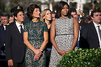 First Lady Michelle Obama (R) and Italian First Lady Agnese Landini (L)participate in an official arrival ceremony on the South Lawn of the White House in Washington DC, USA, 18 October 2016. Later today President Obama and First Lady Michelle Obama will host their final state dinner featuring celebrity chef Mario Batali and singer Gwen Stefani performing after dinner. <br /> Credit: Shawn Thew / Pool via CNP /MediaPunch