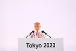 Yoichi Masuzoe,<br /> JULY 24, 2015 : <br /> The Tokyo Organising Committee of the Olympic and Paralympic Games unveils the official emblem for the 2020 Tokyo Olympic and Paralympic Games at the forecourt of the Tokyo Metropolitan Assembly building in Tokyo, Japan, <br /> This event took place five-year before the Tokyo 2020 Olympics.<br /> (Photo by Shingo Ito/AFLO SPORT)