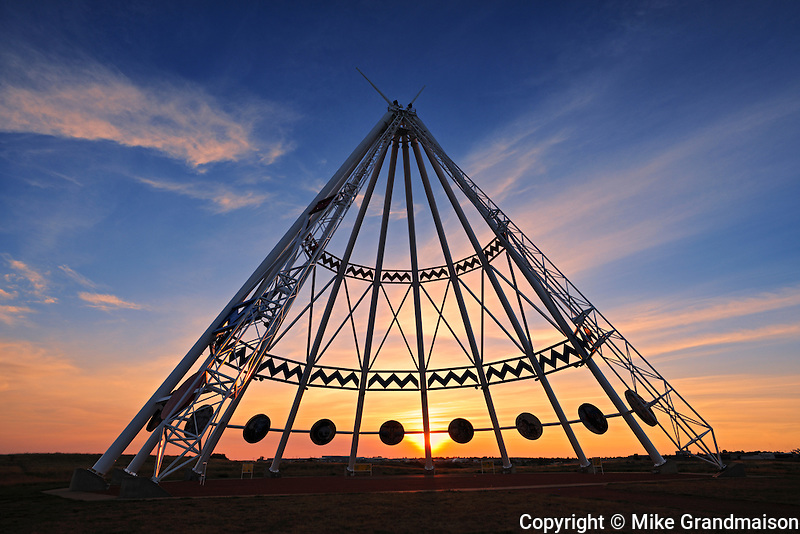Saamis Tepee at sunset<br /> Medicine Hat<br /> Alberta<br /> Canada