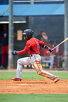 GCL Twins designated hitter Akil Baddoo (2) grounds out during the first game of a doubleheader against the GCL Rays on July 18, 2017 at Charlotte Sports Park in Port Charlotte, Florida.  GCL Twins defeated the GCL Rays 11-5 in a continuation of a game that was suspended on July 17th at CenturyLink Sports Complex in Fort Myers, Florida due to inclement weather.  (Mike Janes/Four Seam Images)