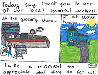 """""""Appreciate Essential Workers"""" Drawing by Mars Charrette, Grade 5, Yarmouth, ME, USA"""
