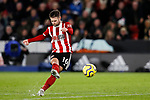 Oliver Norwood of Sheffield United shoots from a freekick during the Premier League match at Bramall Lane, Sheffield. Picture date: 5th December 2019. Picture credit should read: James Wilson/Sportimage
