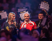 21.12.2014.  London, England.  William Hill World Darts Championship. Mickey Mansell [NIR] makes his way to the stage before his match against Kim Huybrechts (18) [BEL].  Huybrechts won the match 3-0