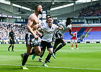Bolton Wanderers' Aaron Wilbraham celebrates scoring his side's third goal with his team mates<br /> <br /> Photographer Andrew Kearns/CameraSport<br /> <br /> The EFL Sky Bet Championship - Bolton Wanderers v Nottingham Forest - Sunday 6th May 2018 - Macron Stadium - Bolton<br /> <br /> World Copyright &copy; 2018 CameraSport. All rights reserved. 43 Linden Ave. Countesthorpe. Leicester. England. LE8 5PG - Tel: +44 (0) 116 277 4147 - admin@camerasport.com - www.camerasport.com
