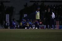 February 26th 2020,the Mahinda Rajapaksha International Stadium, Hambantota, Sri Lanka; One Day International cricket, Sri Lanka versus West Indies; Srilanka players sit and wait for the flood lights to come back on
