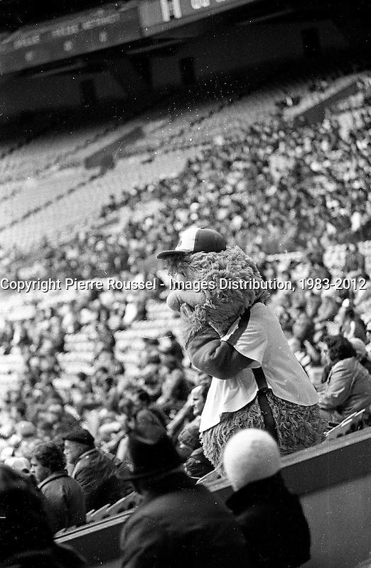 April 6, 1983 file photo - Montreal, Quebec, CANADA - YOUPPI Walk among the  People in Montreal Olympic stadium watching the Expos baseball match