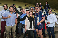 Man of the Match, Jason Harries of London Scottish, with fans after the Greene King IPA Championship match between London Scottish Football Club and Nottingham Rugby at Richmond Athletic Ground, Richmond, United Kingdom on 15 April 2017. Photo by David Horn.