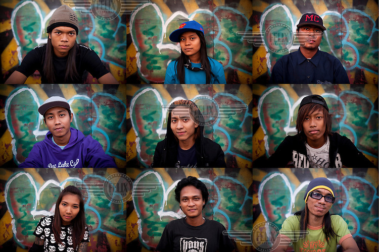A montage of young skaters posing for portraits at a skate park in Yangon.