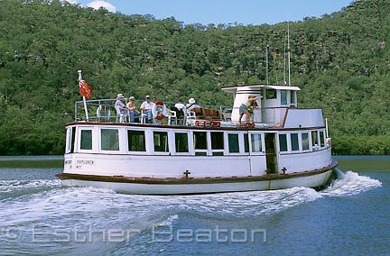 "Riverboat Postman ""MV Hawkesbury Explorer"" with tourists aboard, delivering mail to boat access communities of lower Hawkesbury River, NSW"