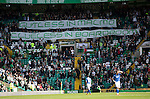 Celtic v St Johnstone...29.08.15  SPFL   Celtic Park<br /> The 'Green Briagde' show their displeasure in the Champions League qualifier against Malmo<br /> Picture by Graeme Hart.<br /> Copyright Perthshire Picture Agency<br /> Tel: 01738 623350  Mobile: 07990 594431