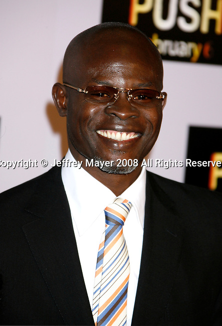 "WESTWOOD, CA. - January 29: Actor Djimon Hounsou arrives at the Los Angeles Premiere of ""Push"" at the Mann Village Theater on January 29, 2009 in Westwood, California."