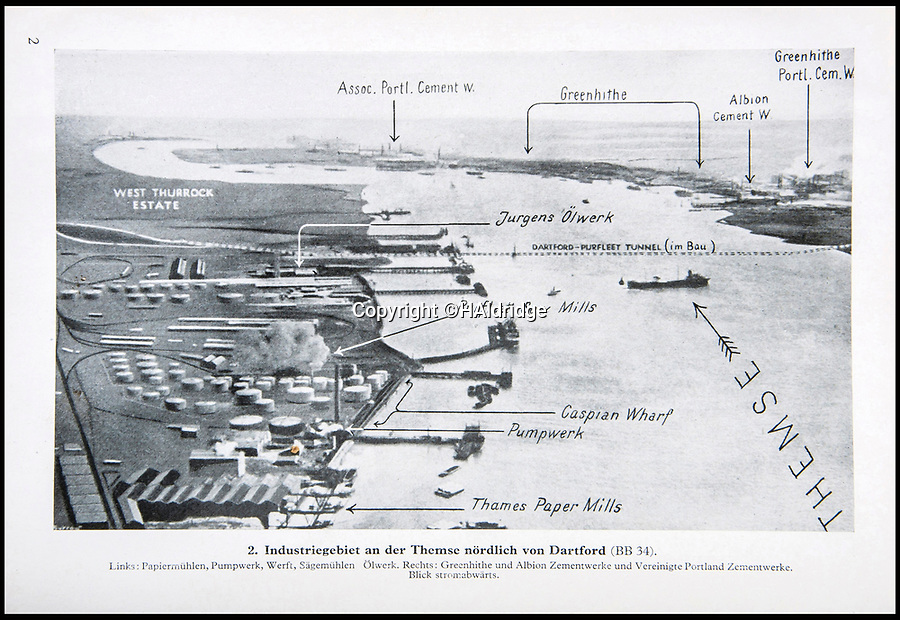 BNPS.co.uk (01202 558833)<br /> Pic: HAldridge/BNPS<br /> <br /> Luftwaffe graphic of Dartford and the eastern approaches to London.<br /> <br /> A top secret post war analysis by British Naval intelligence that offers a detailed and chilling account of the German equivalent of the D-Day landings has been uncovered.<br /> <br /> The volume was compiled by the British based on documents recovered in German naval archives after the war that outlined the Nazi invasion of the UK.<br /> <br /> And the blueprint for Operation Sealion that was to have taken place in September 1940 is remarkably similar to Operation Overlord - the Allied invasion of Normandy - four years later.<br /> <br /> Adolf Hitler identified five different sectors of the English coast to attack with 600,000 men ; from Ramsgate in Kent in the east to Selsey Bill in West Sussex in the west.
