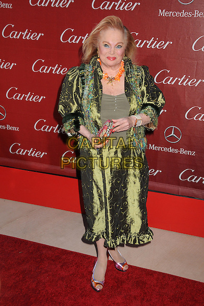 Carol Connors.24th Annual Palm Springs International Film Festival Awards Gala held at at Palm Springs Convention Center,  Palm Springs, California, USA, .5th January 2013..full length skirt silk coat jacket  orange necklace green print  make-up eyeliner .CAP/ADM/BP.©Byron Purvis/AdMedia/Capital Pictures.