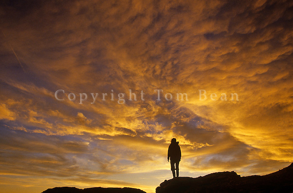 Hiker at sunrise in the Painted Desert at Petrified Forest National Park, Arizona, AGPix_0057.