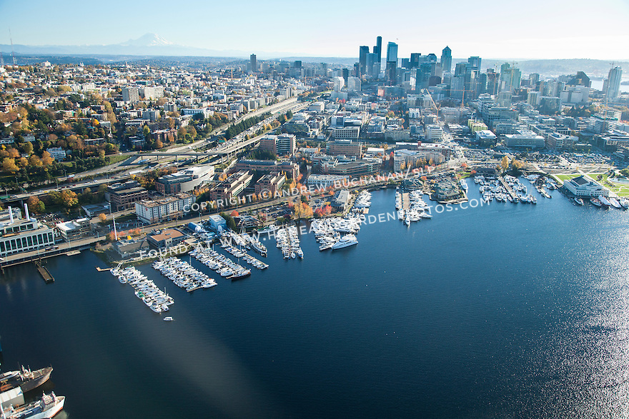Aerial view of Seattle's Lake Union, South Lake Union neighborhood, and downtown skyline