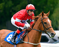 Geranium ridden by Gerald Mosse goes down to the start of The DEOS Group Handicap during Evening Racing at Salisbury Racecourse on 11th June 2019