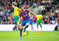 Crystal Palace Luka Milivojevic and Norwich City Todd Cantrell during the Premier League match between Crystal Palace and Norwich City at Selhurst Park, London, England on 28 September 2019. Photo by Andrew Aleksiejczuk / PRiME Media Images.